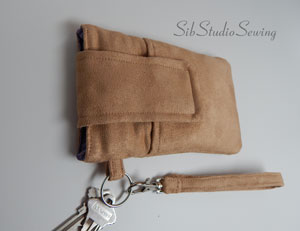 Velvety soft camel faux suede smartphone wristlet