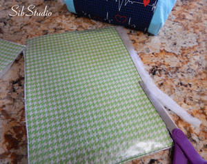 Stethoscope bags getting a trim before sewing