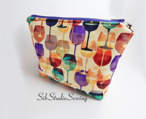 Wine glasses Cosmetic bag